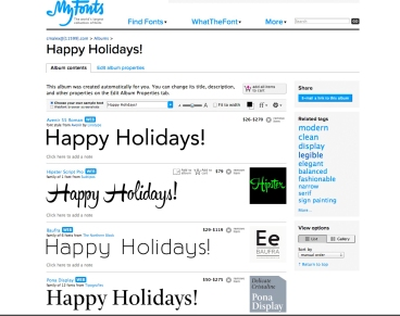 happy holidays in several fonts