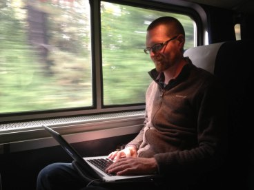 Shutterbug edits photos on a cross country train trip