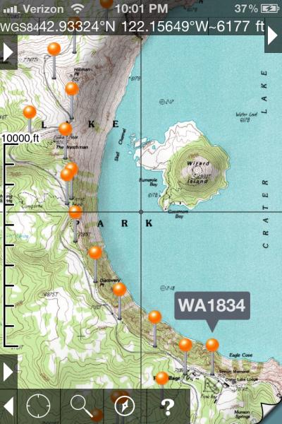Topo Maps with Half Mile's Waypoints