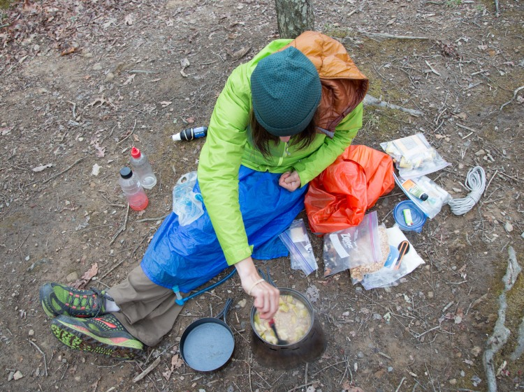 Cooking dinner in the backcountry