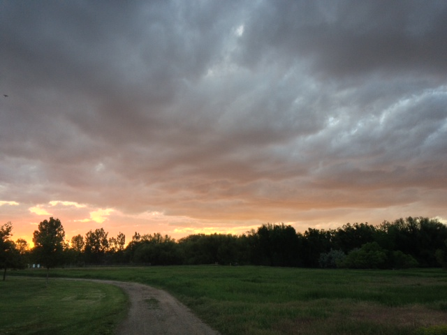 Park and bike path outside our front door. The sunsets have been fun to watch.