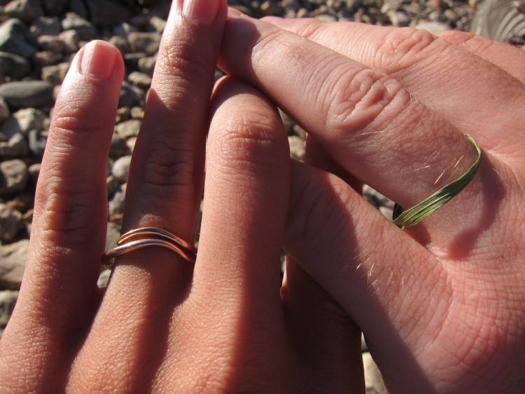 Our gold and grass engagement rings