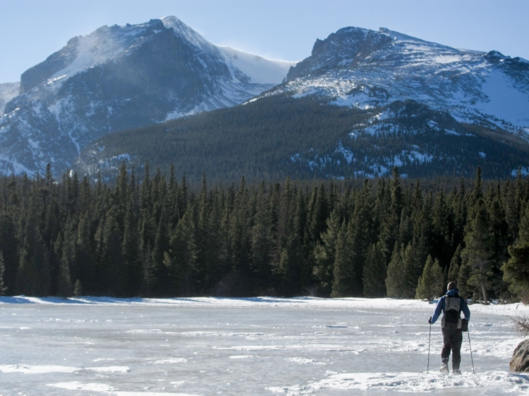 Snowshoeing the edge of Bierstadt Lake