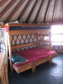 Bunks in the yurt