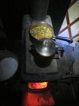 Cooking on a wood cast iron stove