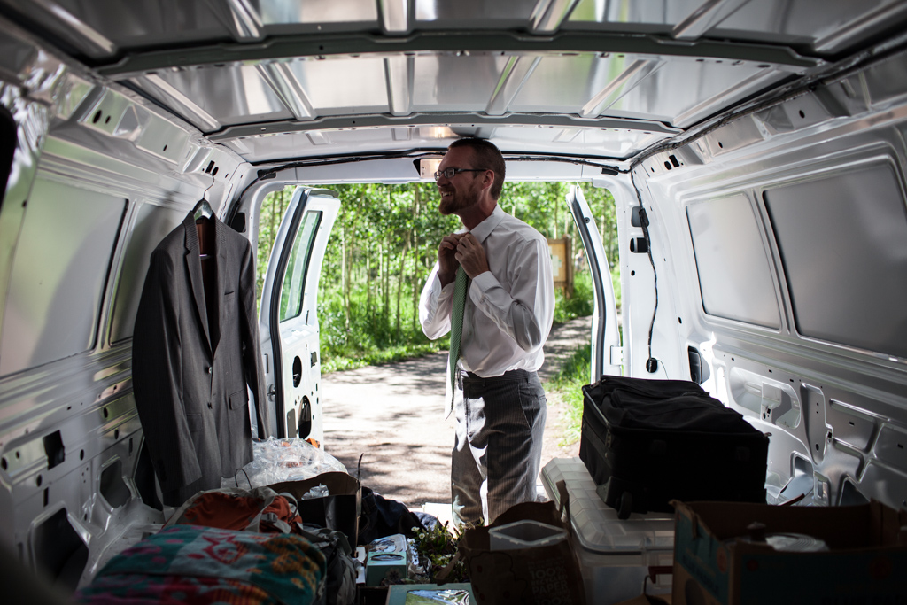 Chris getting ready in the cargo van (photo by Kent Meireis)