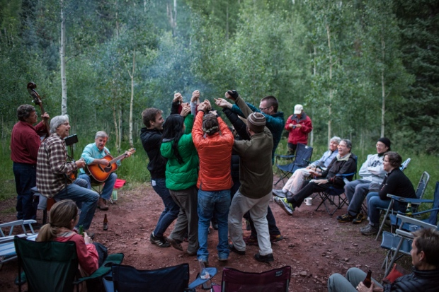 Dancing to bluegrass music around the campfire (photo by Kent Meireis)