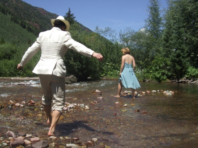 Richard and Becky playing in the water (photo by Hilary Hertzler)