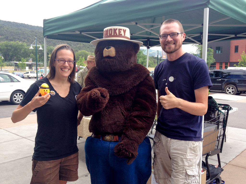 Sharing a moment with Smokey the Bear