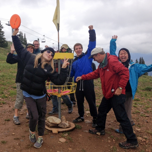 Finishing the first hole of the highest disc golf course in the world