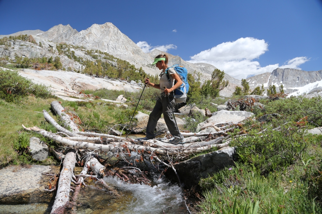 Crossing a creek on the PCT