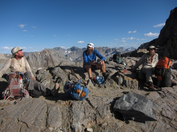 Chatting with other PCT thru hikers in the Sierra