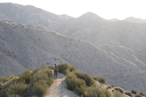 Hiking early in the mountainous desert