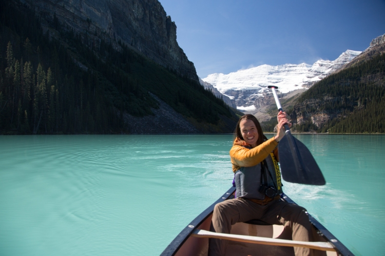 Paddling on Lake Louise