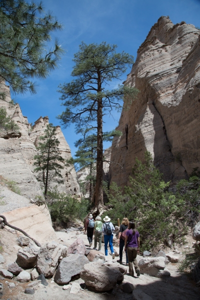 Family hike in Tent Rocks National Monument