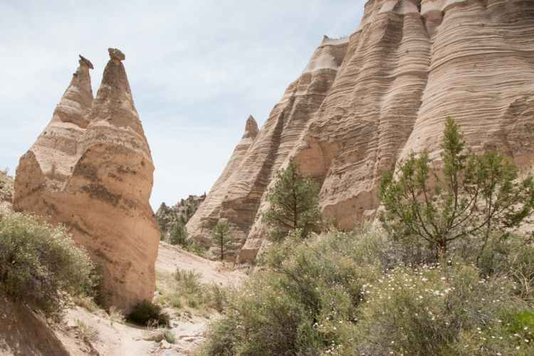 Tent rocks next to trail
