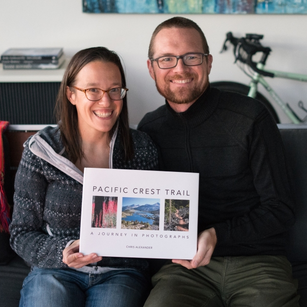 Holding our Pacific Crest Trail photography book